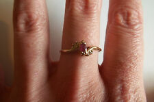 14k Yellow Gold Natural Ruby Diamond accent ring Vintage size 7