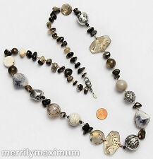 Chico's Signed Silver Tone Necklace Long Chunky Bead Chain Faux Stone White Blac