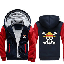 Anime One Piece Straw Hat Luffy Thicken Baseball Jacket Unisex Hoodie Coat#51C17