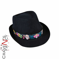 Day of the Dead Fedora Hat Halloween Fancy Dress Costume Party Accessory New