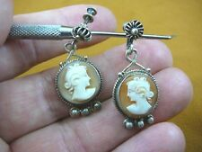 C-1450 vintage hand carved Woman shell CAMEO sterling silver screw back earrings