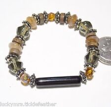 Earth Tone Crystal Bracelet, Brown/Green/Amber w/ Wood/ ST/Black Glass Tube Bead