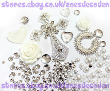 DIY Mobile cell Phone Case white silver cross metal alloy cabochon Deco Den Kit
