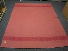 "VINTAGE HUDSON BAY 3 1/2 POINT RASPBERRY WOOL BLANKET with STRIPES 64"" X 82"""