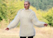 SUPERTANYA IVORY Hand Knitted Mohair Sweater Cable Knitted THICK Fuzzy Pullover