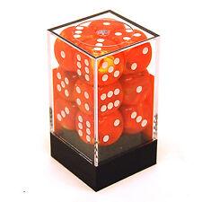 Chessex Dice d6 Set 16mm Vortex Solar Orange w/ White 6 Sided Die 12 CHX 27623