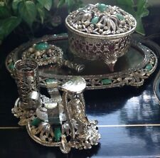 VINTAGE ANTIQUE ORNATE SILVER COLORED MULTI STONE JEWELED 4 PIECE VANITY SET