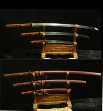 1095 CARBON STEEL  FORGED JAPANESE SAMURAI SWORD SET ( KATANA + WAKIZASHI +TANTO