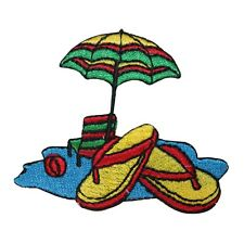 ID 1798 Beach Scene Umbrella Chair Flip Flop Embroidered Iron On Applique Patch