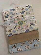 Little Me Baby Boy 3 Pack Swaddle Receiving Blankets Blue Puppy Dog Layette