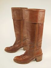 1970s FRYE Vintage Leather Stovepipe Tall Campus Riding Cuff Boots 7 B