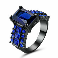 Lady/Women's/Men's 10kt Black gold Filled Blue Sapphire Wedding Ring Gift size 8
