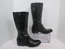 "Born Crown ""Jonsi"" Black Leather Side Zip Mid Calf Fashion Boots Sz 8.5-M EUC!"