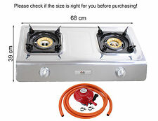 Gas Stove Cooker 2 Burners Portable Indoor Caravan LPG 7.2kW WOK Propan NSD2 NEW