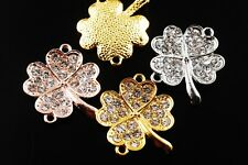 3pcs Curving Alloy Paved Crystal Rhinestones Charms Connector Finding 45 Styles
