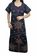 Indiatrendzs Women Cotton Blue Maxi Nighty Nightwear Night Gown Chest : 44""