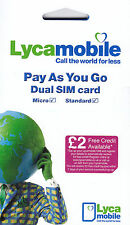 Lycamobile UK carte sim (Officiel Combo SIM-Les Deux Std & Micro Taille)
