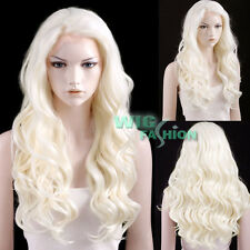 "24"" Long White Platinum Blonde Curly Lace Front Synthetic Wig"