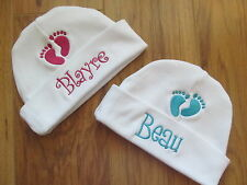 PERSONALIZED MONOGRAM CUSTOM Baby Beanie Infant Hospital Hat Cap Footprint Feet