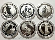 SET of SIX Australia Kookaburra LUNAR PRIVY Silver Coins 2012-13-14-15-16-2017