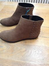 SUEDE MINK PIXIE ZIP UP BOOTS. STUD DETAIL TO BACK. SIZE 5. NEW WITH TAG.