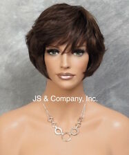 SHORT Body Wavy WIG Brown Auburn Mix 100% Human Hair  ufa 4.30