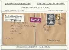 GB Postal Training RMSD cover 34p & faulty £1.33 Machins with POS overprints