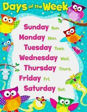 Days of Week Owl Stars POSTER Learning Classroom Chart  Teacher Educational