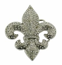 Fleur de Lis French Flower Lilly Saint Sign Belt Buckle Silver Rhinestone Cool.