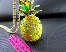 NEW Betsey Johnson Yellow Pineapple Pendant Fruit Gold Long Necklace!