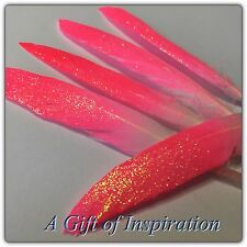 5 x 10-15cm Gorgeous hand painted Pink glitter Goose feathers craft/millinery