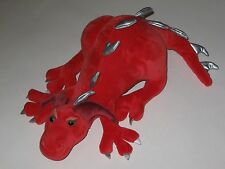 "13"" Manhattan Toy Company Co Red Dragon Silver Spikes Fantasy Crouching Plush"