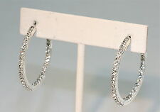 "eli k SILVER PLATE & CLEAR CRYSTALS INSIDE/OUT SMALL 1 1/3"" HOOP EARRINGS"
