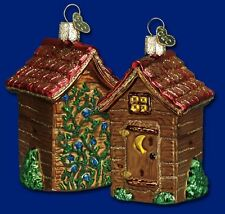 OUTHOUSE OUTDOOR POTTY W/CRESCENT MOON OLD WORLD CHRISTMAS GLASS ORNAMENT 20012