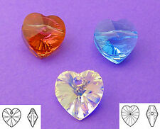 10mm Swarovski Mixed Crystal Copper Aquamarine Heart Beads 6pcs