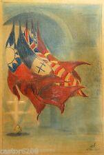 DESSIN 8 MAI 1945 ESQUISSE signée ROBY drapeaux alliés tombe soldat inconnu
