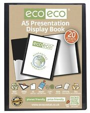 A5 Display Book 50% Recycled 20 Pocket Black Presentation File Folder