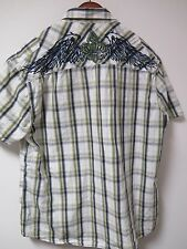 Men's Mark Ecko Cut & Sew S/S Button Up Embroidered Shirt Size 2XL