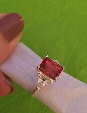 Avon Dramatic Hues  CZ Platinum Plated Sz 8 Ring NEW Red.