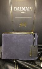 Auth Balmain x H&M Small Suede and Leather Clutch Dark Blue NWT