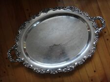 """X Large Silverplate Footed Serving Tray 30"""" Butlers Platter Stunning"""