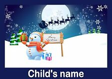 Children's/Kids A4 CHRISTMAS SnowMan Dinner/Place Mat Personalised