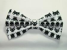 (1) PRE-TIED BOW TIE - CLASSIC VIDEO GAME - BLACK ATARI SPACE INVADERS ON WHITE