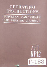 Deckel  Fredrich KF1 and KF12, Pantograph Die Sinking, Operations Manual 1966