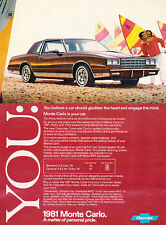 1981 Chevrolet Monte Carlo -  Original Advertisement Car Print Ad J514