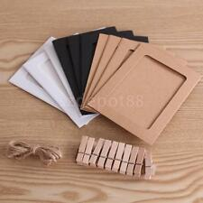 10x Paper Photo Picture Frame Wall Hanging Album 6 inch With Hemp Rope Clips
