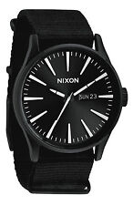 NIXON SENTRY WATCH BLACK WHITE CHRONICLE 42mm Stainless Steel Case Black A105005