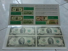 USA UNCUT 2x2 TWO DOLLARS US$2 banknote with double folder (UNC), #4 (SOLD)