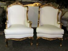 Grand Ornately Carved Gilt Italian Rococo Throne Wing Chairs