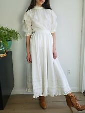 VTG 70's Laura Ashley/White/2PC Dress/Ruffles/Lace/High Collar/Victorian/XS
